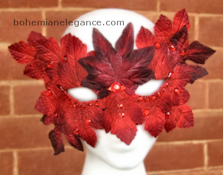 Green Man Autumn Red Leaf Mask