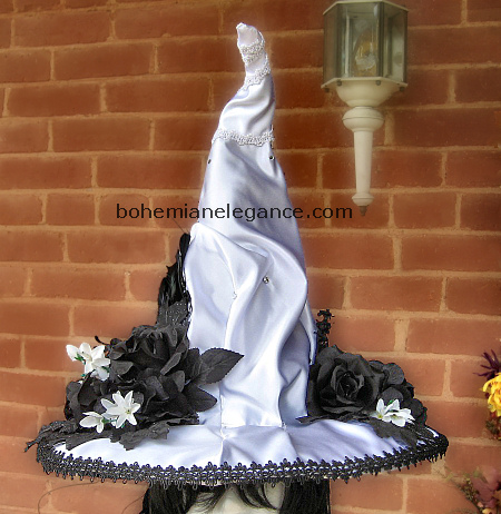 Elegant White Victorian Witch Hat