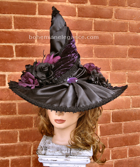 Midnight Amethysts Victorian Witch Hat