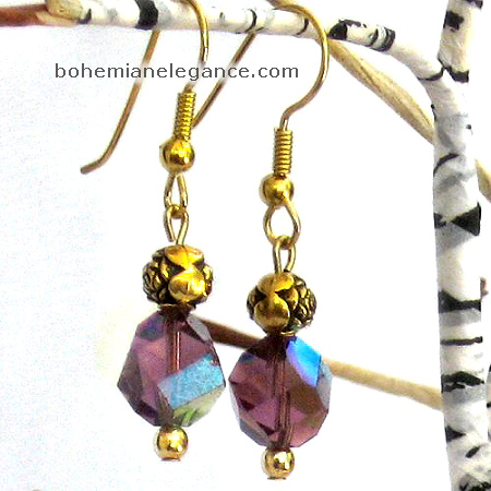 Amethyst Crystal Bead earrings