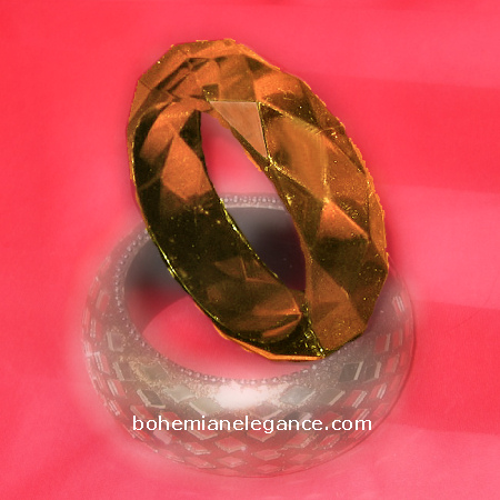 Lucite Faceted Amber Cuff Bracelet