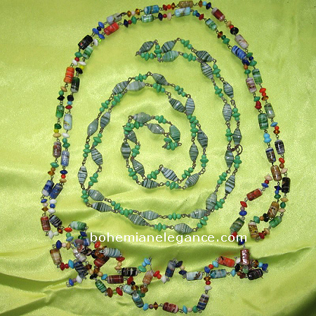 Vintage Carnival Beads Hand Made Glass