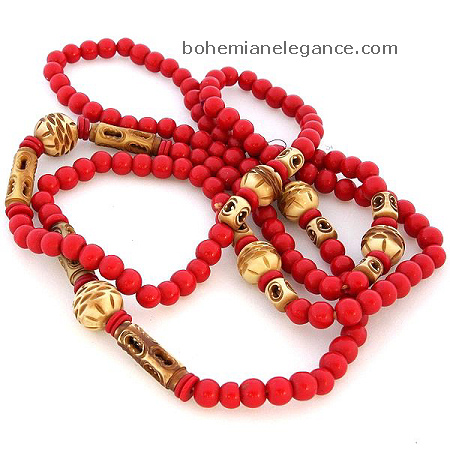 Vintage Plastic Red Bead Necklace