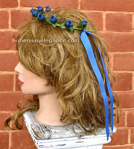 Tiny Blue Rose Circlet Fairy Crown