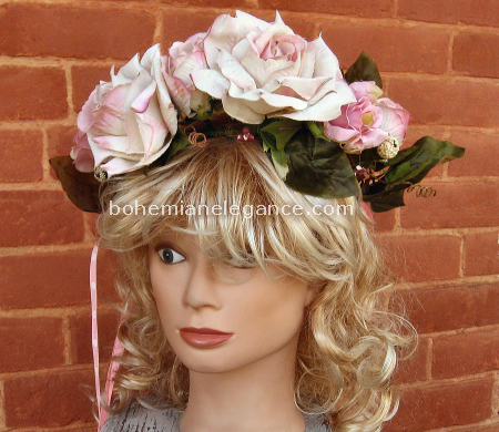 Pink Antique Rose Fairy Crown