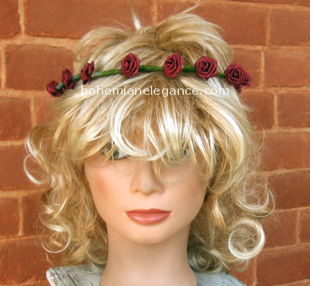 Tiny Burgundy Rose Circlet