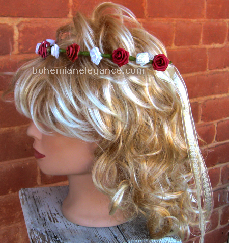 Burgundy & White Rose Circlet